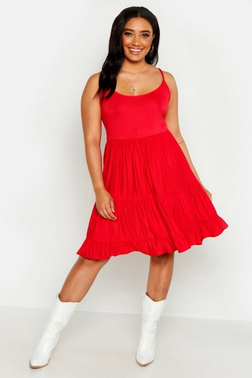 Womens Red Plus Strappy Tiered Smock Dress