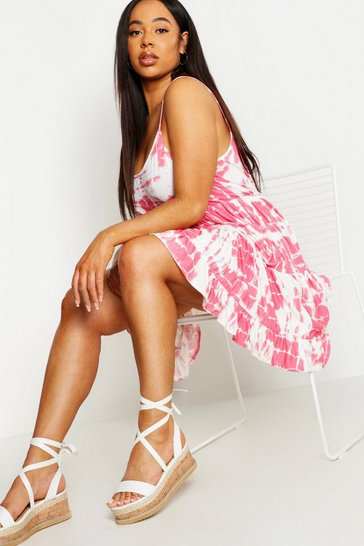 Womens Pink Plus Tie Dye Strappy Smock Dress