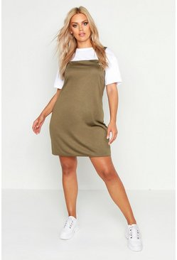 Womens Khaki Plus Pinafore Dress
