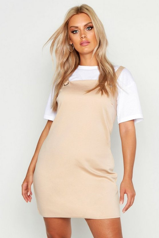 Womens Stone Plus Pinafore Dress