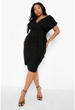 Womens Black Plus Bardot Wrap Front Belted Midi Dress