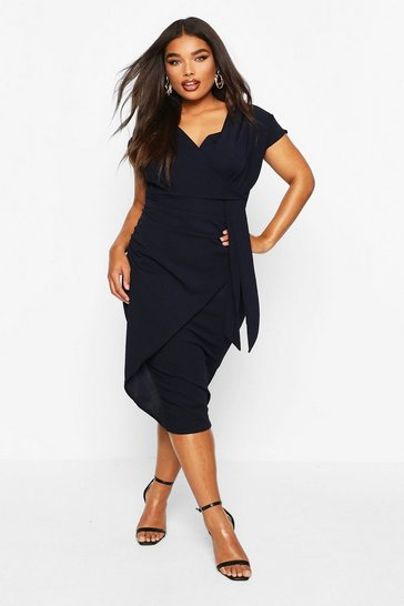 Womens Navy Plus Bardot Wrap Front Belted Midi Dress