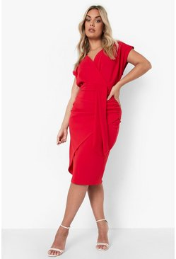 Red Plus Off The Shoulder Wrap Front Belted Midi Dress