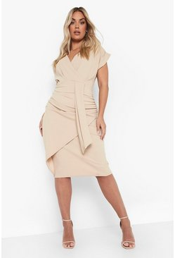 Stone Plus Bardot Wrap Front Belted Midi Dress