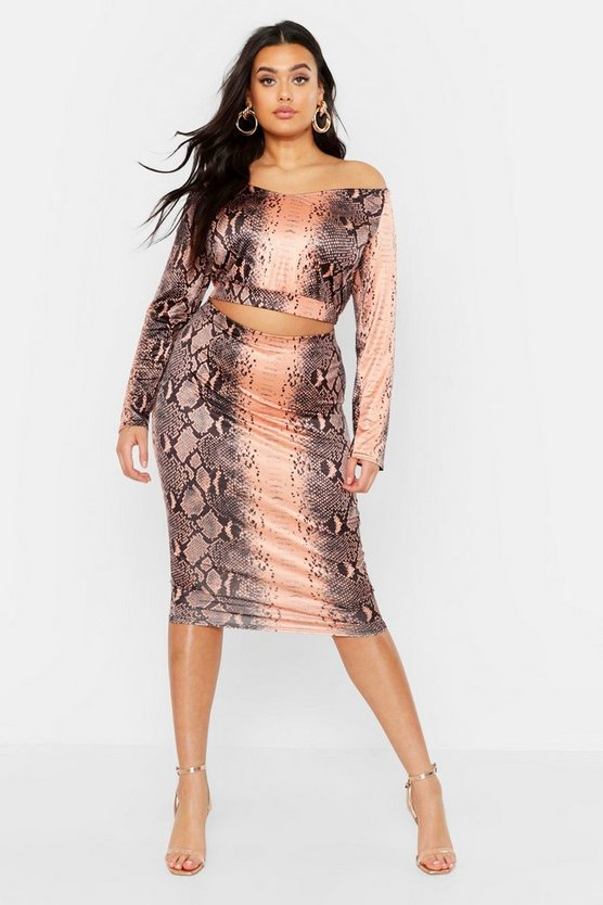 Womens Chocolate Plus Slinky Snake Print Midi Skirt