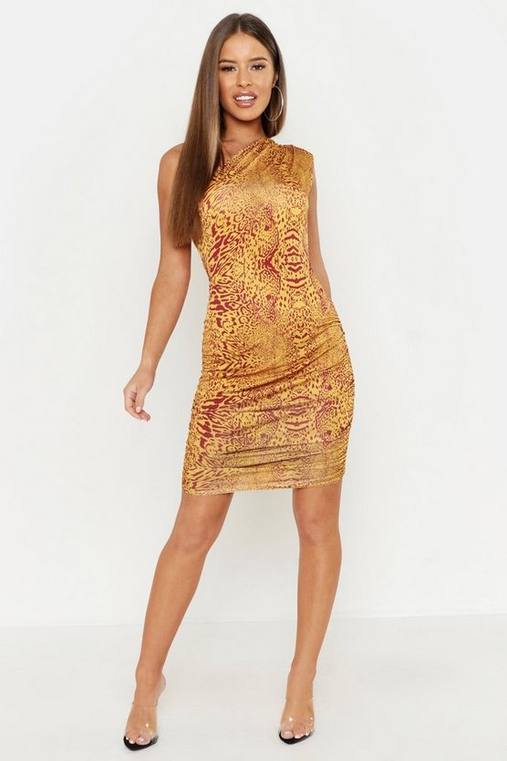 Terracotta Petite Animal Print One Shoulder Bodycon Dress