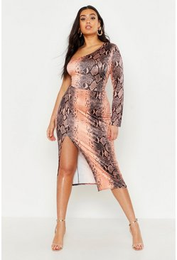 Womens Chocolate Plus Slinky Snake Print Shoulder Midi Dress