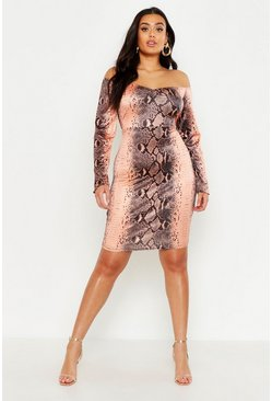 Womens Chocolate Plus Snake Print Off The Shoulder Bodycon Dress