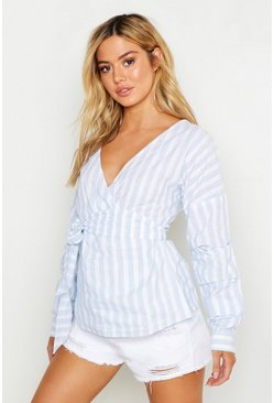 Womens Pale blue Petite Off The Shoulder Stripe Wrap Blouse