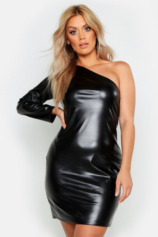 Black Plus PU One Shoulder Bodycon Dress