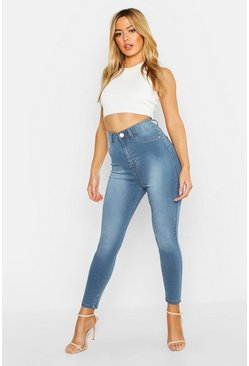 Light blue Petite One Button High Waist Jegging