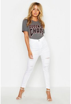 Womens White Petite Slashed Ripped Jegging