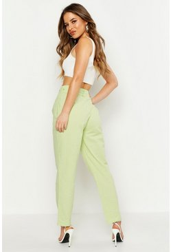 Womens Sage Petite Linen Look High Waisted Trousers