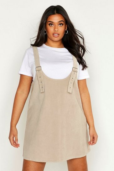 Womens Taupe Plus Buckle Front Pinafore Dress