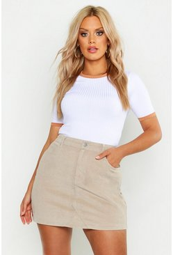 Womens Taupe Plus Cord Skirt