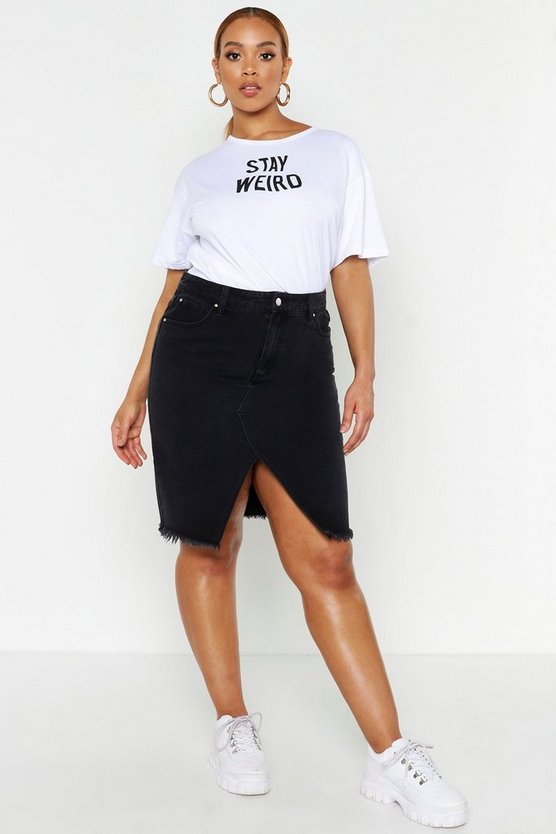Black Plus Denim Midi Skirt