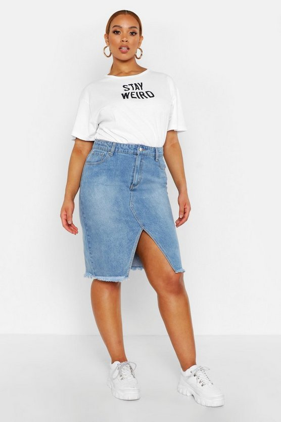 Light wash Plus Denim Midi Skirt