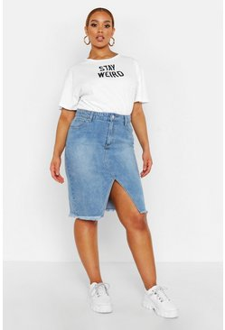 Womens Light wash Plus Denim Midi Skirt