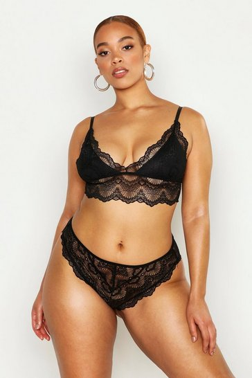 Womens Black Plus Lace Scallop Bralet & Knicker Set