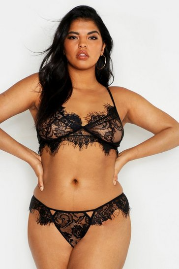 Womens Black Plus Lace Bralet & Knicker Set