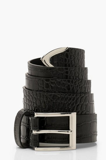 Womens Black Plus Faux Croc Waist Belt