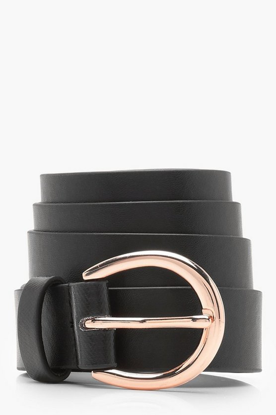 Womens Black Plus Faux Leather Circle Waist & Hip Belt