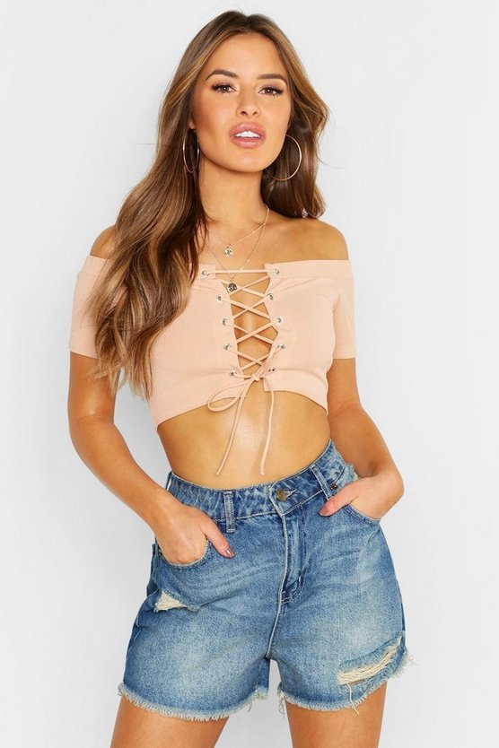 Womens Apricot Petite Bardot Lace Up Crop Top