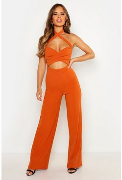 Womens Orange Petite Halterneck Cut Out Wide Leg Jumpsuit