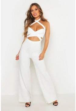 White Petite Halterneck Cut Out Wide Leg Jumpsuit