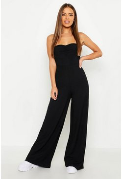 Womens Black Petite Gathered Front Bandeau Rib Jumpsuit