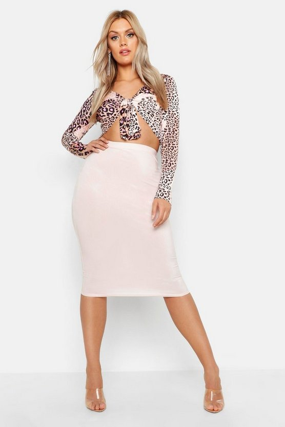 Womens Nude Plus Slinky Midi Skirt