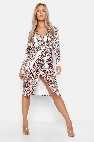 Womens Brown Plus Slinky Mixed Leopard Wrap Midi Dress