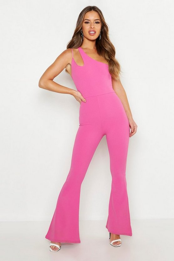 Hot pink Petite Cut Out Detail Flared Jumpsuit