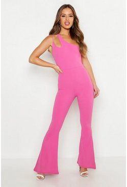 Womens Hot pink Petite Cut Out Detail Flared Jumpsuit