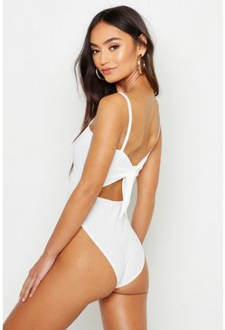 Ivory Petite Ribbed Tie Back Bodysuit
