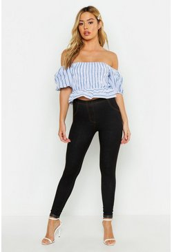 Womens Black Petite Turn Up Hem Jeggings