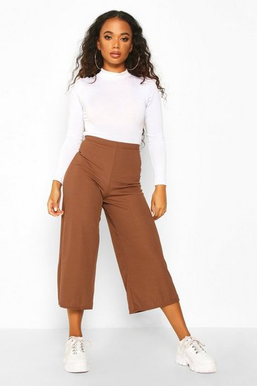 Womens Chocolate Petite Rib Wide Leg Culottes