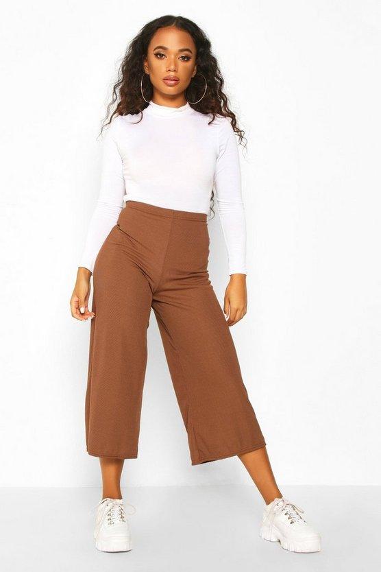 Petite Rib Wide Leg Culottes