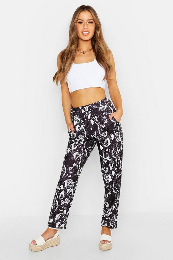 Womens Black Petite Snake Printed Tailored Trousers