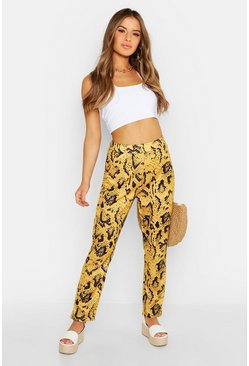 Womens Mustard Petite Snake Printed Tailored Trousers