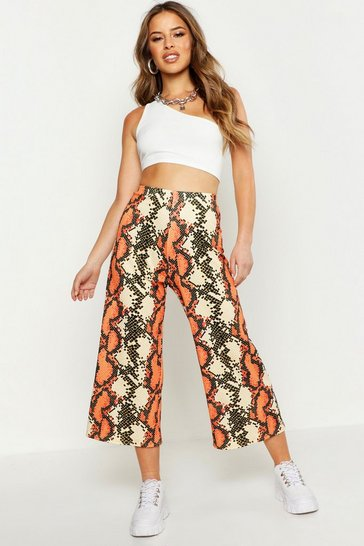 Womens Coral Petite Snake Print Culottes