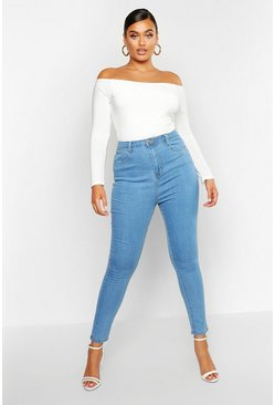 Light blue Plus - Skinny jeans med hög midja