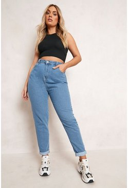 Womens Mid blue Plus High Waist Mom Jean