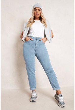 Plus High-Waist Mom-Jeans, Hellblau