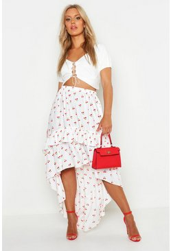 Womens White Plus Woven Cherry Print Ruffle Dipped Hem Skirt