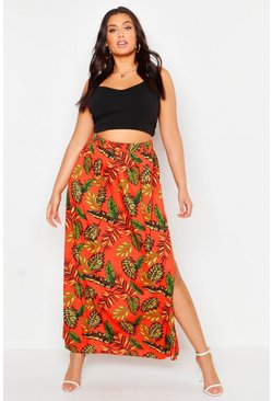 Womens Orange Plus Palm Print Floor Sweeping Maxi Skirt