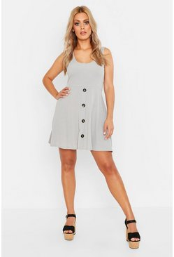 Womens Grey marl Plus Plunge Button Down Skater Dress