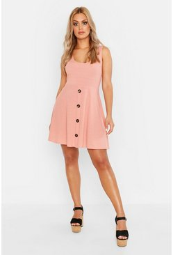 Rose Plus Plunge Button Down Skater Dress