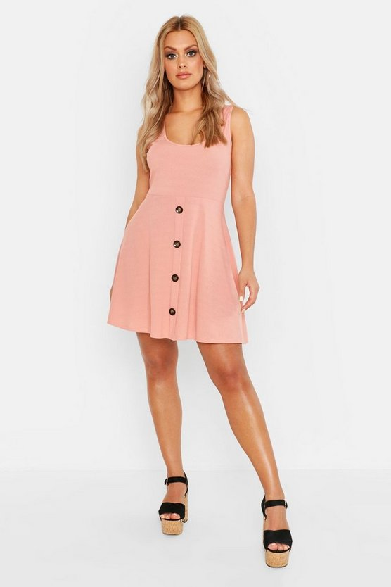 Womens Rose Plus Plunge Button Down Skater Dress