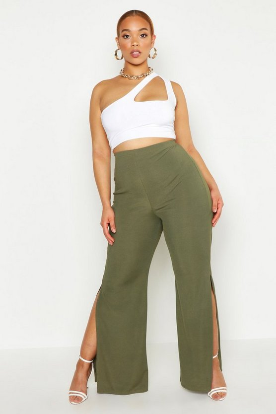 Womens Khaki Plus High Waist Ribbed Split Side Wide Leg Trouser